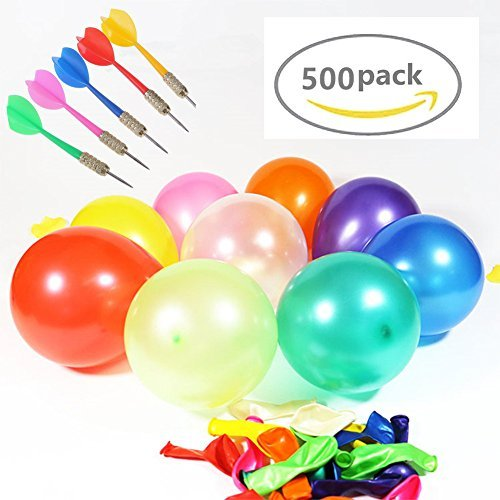 LovesTown Carnival Games Darts Balloons, 500PCS Circus Decorations Christmas Balloons Water Balloons with 10PCS Darts for Carnival Party -