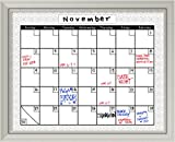 Framed Glass Dry Erase Board Large, Medallion Grey Calendar: Outer Size 32 x 26''