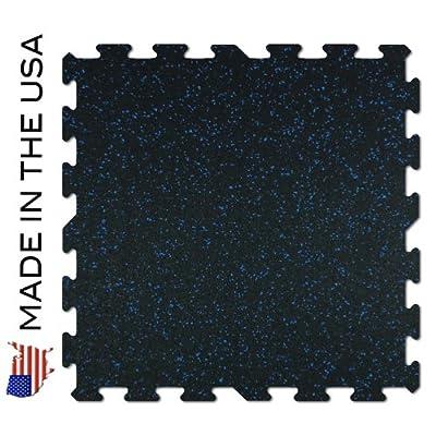 """Rubber Flooring Gym Tiles 23'' x 23"""" - 9 Tile Pack - 33 Sq Ft - Black W/blue Flecks"""