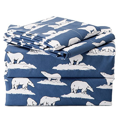 Sheet Set Queen Size Navy Printed Polar Bears Design Bedding Sets with Deep Pocket 4 Piece Soft Smooth Wrinkle&Fade Resistant Hypoallergenic Microfiber Bed Sheets by Bedsure