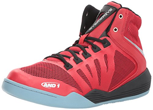 AND 1 Men's Overdrive Basketball Shoe, Fabric Red/Black/Silver, 9 M US