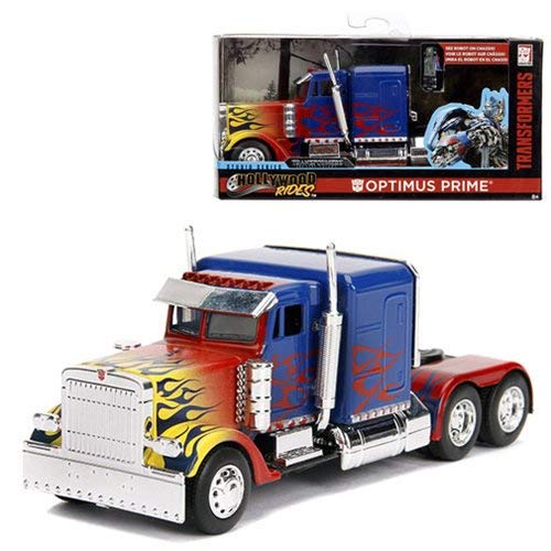 - Optimus Prime Truck with Robot on Chassis from Transformers Movie Hollywood Rides Series Diecast Model by Jada 99802