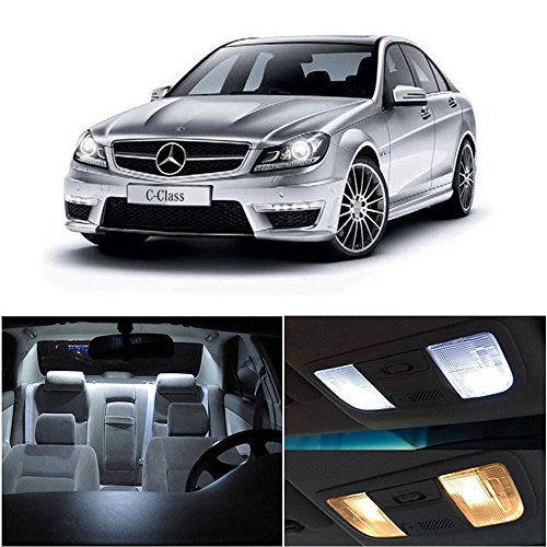 cciyu 14pcs Xenon White Interior LED lights Bulb Package Kit Replacement fit for Mercedes Benz C-Class W203 2000-2007