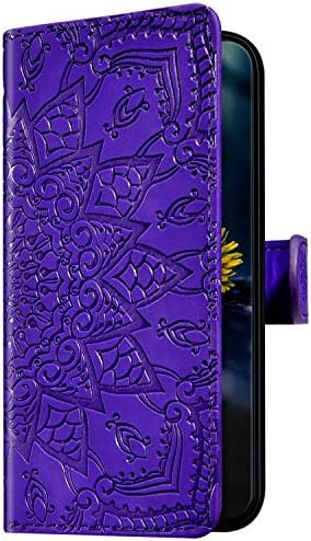 Uposao Kompatibel mit Samsung Galaxy A9 2018 Hülle Leder Handyhülle Schutzhülle Mandala Blumen Muster Flip Wallet Bookstyle Case Ledertasche Lederhülle Klapphülle Magnet Kartenfächer,Lila