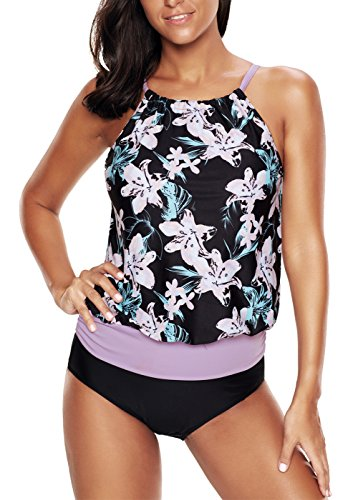 Papaya wear Blouson Tankinis Tops Swimwear For Women Bathing Suits Purple M
