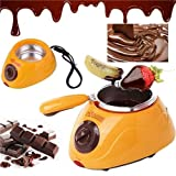 Chocolate Melting Pot- Moonvvin Electric Chocolate Fondue Fountain Pot with Over 30 Free Accessories and 12 Recipes