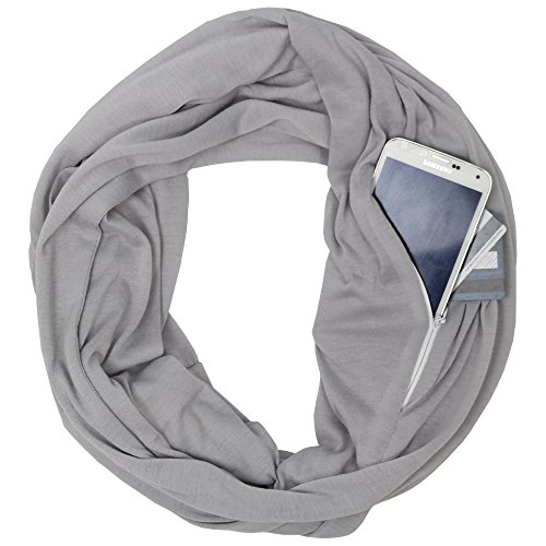 Womens Fashion Infinity Scarf - Solid Color Grey Infinity Scarves for Womens Fashion Scarf Zipper Pocket - Pop Fashion