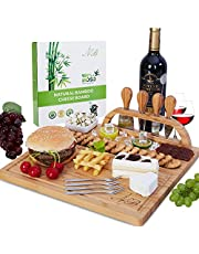 Bamboo Cheese Board Set, Cheese/Charcuterie Platter Serving Tray with 4 Tableware Stainless Steel Knife, 4 Stainless Steel Cheese Forks and Ceramic Bowl Perfect Gift for Housewarming & Weddings