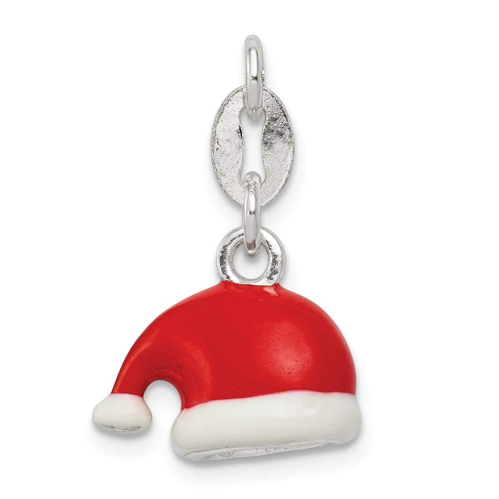 Sterling Silver Polished Enamel Santa Hat Charm