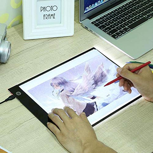JULUJ Digital A4 LED Graphic Tablet Writing Painting Drawing Tablet Tracing Panel Luminous Stencil Board Display LED Copy Pad Box - No Brightness Adjust