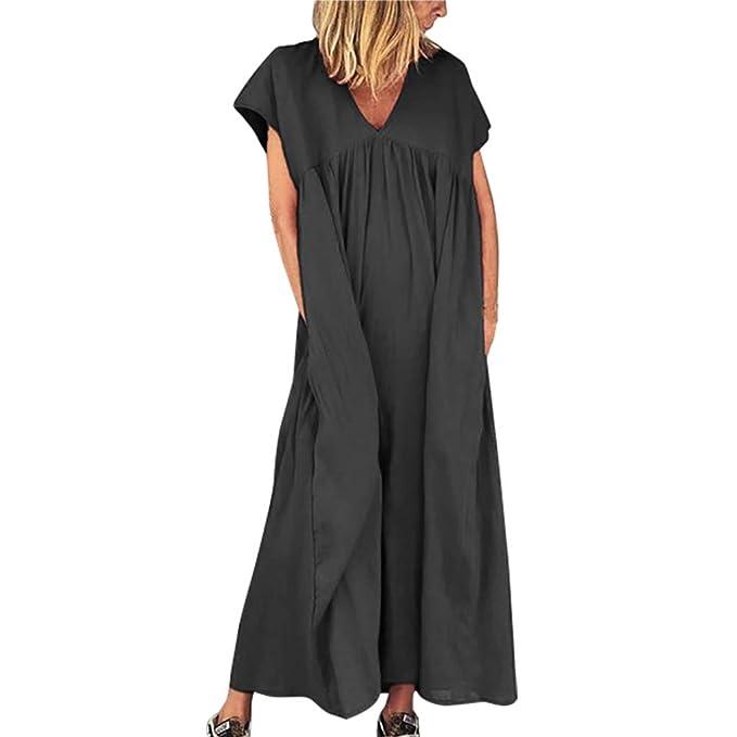 Womens Casual Mini Dress Loose Short Sleeve V Neck Side Split Knee Length T Shirt Dresses Plus Size
