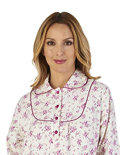 Slenderella Luxury Women's Cream Gown Night Loungewear Flannel Nd2211 Floral Nightdress UEUwxqrF