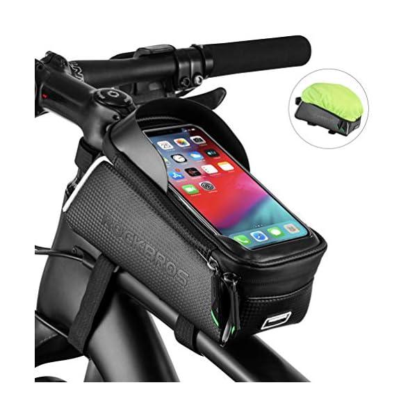 ROCK BROS Bike Phone Bag Bicycle Front Frame Bag Waterproof Top Tube Cycling Bags...