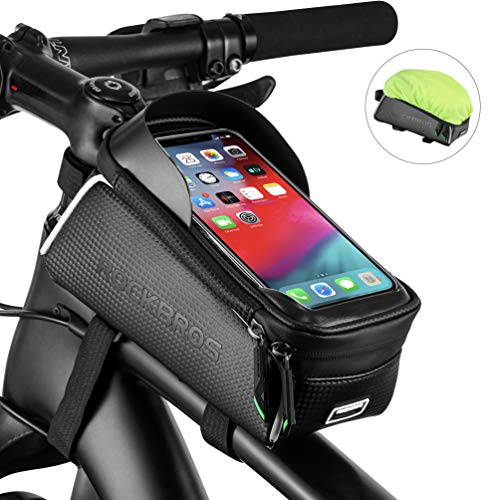 ROCK BROS Bike Phone Bag Bicycle Front Frame Bag Waterproof Top Tube Cycling Bags Phone Case with Touch Screen Bicycle Bike Accessories Compatible with iPhone Xs Max 8 Plus, Samsung S10, Huawei P30