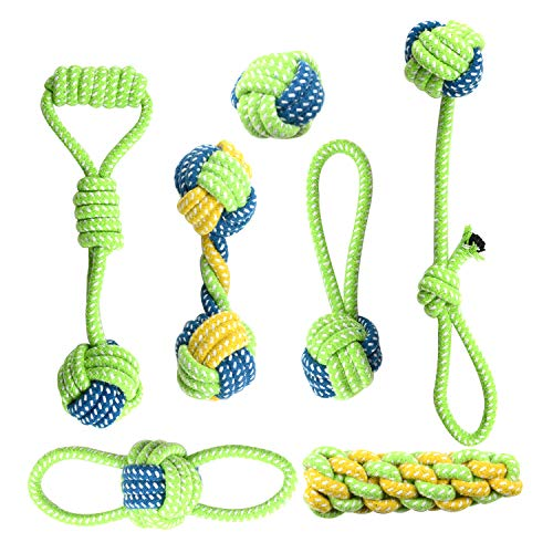 Whoobee Rope Dog Toy,Puppy Chew Toys for Playtime and Teeth Cleaning, Durable Cotton Tug of War Balls Dog Bones for Medium to Small Dogs Set of 7