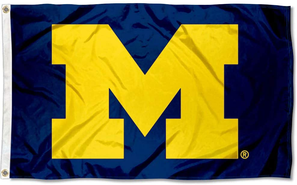 UM Michigan Wolverines University Large College Flag