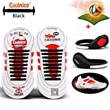 Coolnice® No Tie Shoelaces for Kids sports with LED Shoe Clip Lights- Environmentally Safe Waterproof Silicon- Black Shoelaces with Red Lights