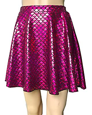 Mermaid Shiny Sparkle Fish Scale Print Flared Skater Mini Skirt Girls Women Adult