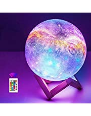 OxyLED Moon Lamp, 16 Colors 7.1 Inch 3D Print LED Galaxy Moon Light Dimmable with Stand Remote Touch Tap Control and USB Rechargeable, Night Lights for Kids Lover Friends Birthday Gifts