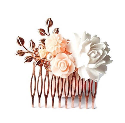 Bridal Hair comb Rose Gold with leaf white and light pink flowers for prom or bridesmaids gift