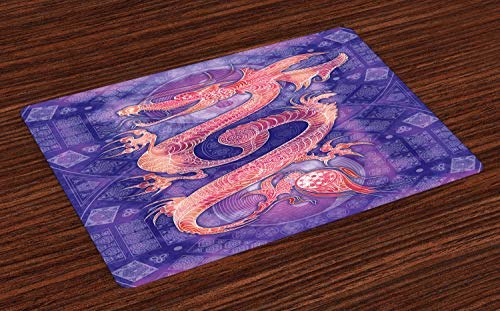 ABAKUHAUS-Dragon-Place-Mats-Set-of-4-Chinese-Figure-with-Ying-Yang-Signs-Ethnic-Patterns-Asian-Arts-Meditation-Themed-Washable-Fabric-Placemats-for-Dining-Room-Kitchen-Table-Decor-Purple-Coral