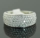 14K Gold or White Gold Mens Wedding Band Ring Extra Wide 10mm 1.50ctw Diamonds Round Domed Ring for Men