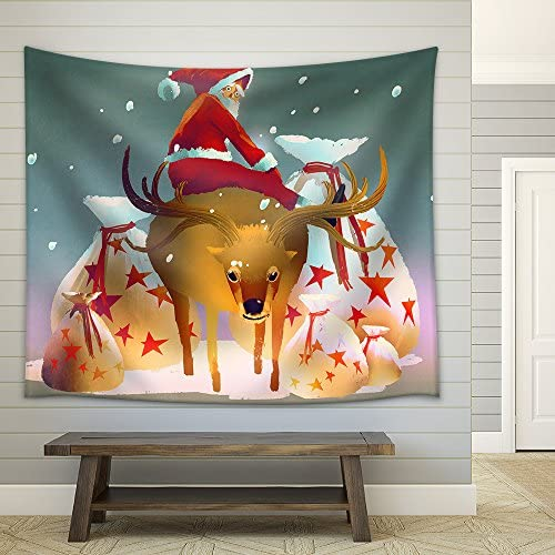 Illustration Santa Claus Sitting on His Reindeer with Gift Bags Illustration Painting Fabric Wall