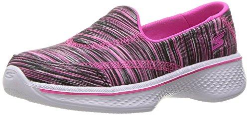 Skechers Kids Girls' Go Walk 4 Sporty Stripes Slip-On Sneaker,Black/Pink Stripes,]()