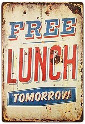 QDES Free Lunch Tomorrow Vintage Tin Sign Wall Decor