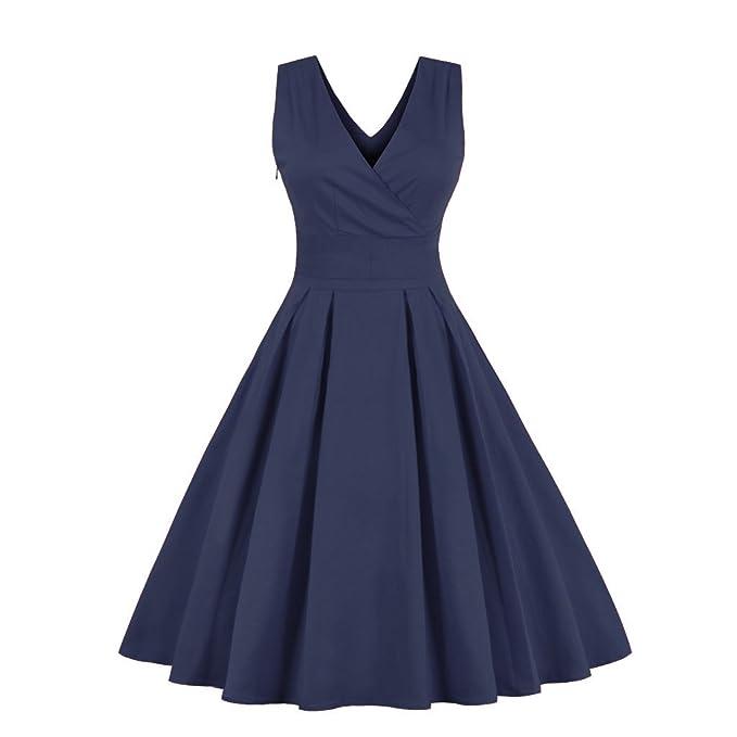 Babyonlinedress Vestido azul marino plisado largo cuello V sin mangas con lazo detrás vestido de fiesta