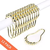 Gold Shower Curtain Wimaha Rustproof Shower Curtain Rings Hooks, Stainless Steel Heavy Duty Roller Shower Hooks for Bathroom Shower Rods Curtains Liners, Polished Gold, Set of 12 Hooks