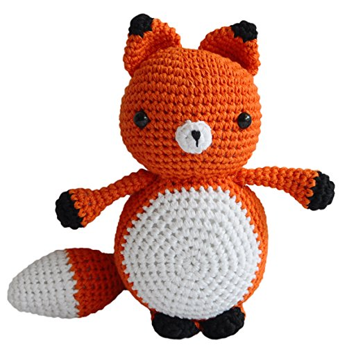 Orange Adorable Mister Fox Handmade Amigurumi Stuffed Toy Knit Crochet Doll VAC -