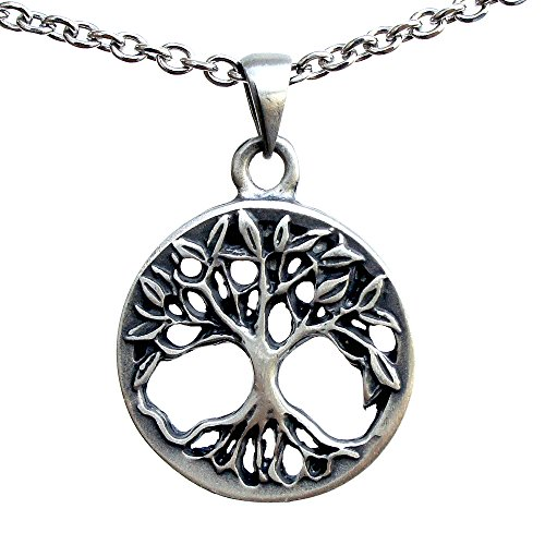 - OhDeal4U Viking Celtic Yggdrasil Tree of Life Bonsai Pagan Silver Pewter Pendant Charm (Stainless Steel Necklace)
