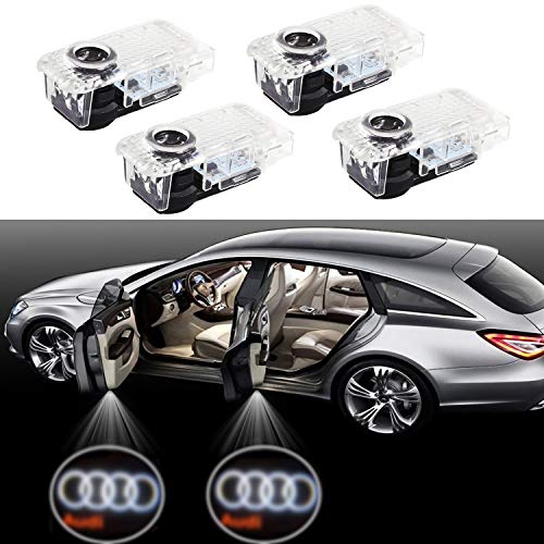 Eogifee Car LED Door Courtesy LED Laser Projector Welcome Lights Ghost Shadow Light for The Replacement of Audi A4 A3 A6 Q7 Q5 A1 A5 TT A8 Q3 A7 R8 ()