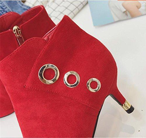 Con Botas Khskx Fino Decorativo Nuevo Femenino Invierno Punta Lazo red Metal Boot Y Redondo Satinado 6cm Desnudo 37 Altos Señoras Tacones pqpgST