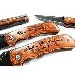 Personalized Engraved Wood EDC Pocket Knife Groomsman Best Man Wedding Party Contour Grip