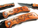 Personalized Engraved Wood EDC Pocket Knife Groomsman Best Man Wedding Party Contour Grip Review
