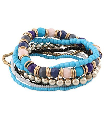 Young & Forever Women's Diwali Gifts Special Blue Bohemian Multilayer Beads Bracelet by Young & Forever