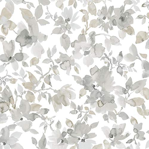 RoomMates Neutral Watercolor Floral Peel and Stick Wallpaper