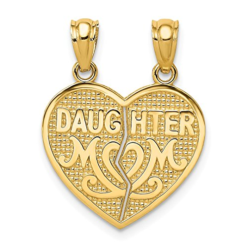 ICE CARATS 14k Yellow Gold Daughter Mom Break Apart Heart Pendant Charm Necklace Special Person Fine Jewelry Gift Set For Women (Daughter Break Apart Heart)