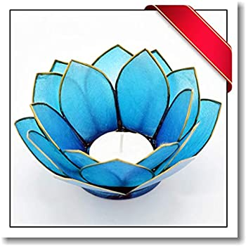 Innovatronix 1 Piece Capiz Shell Tea Light Candle Holder Stand - 5 Inches Diameter - Triple Layered - Home and Office Décor | 5x2 Inches | (Blue)