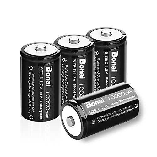 Bonai Rechargeable D Batteries 10,000mAh 1.2V Ni-MH High Capacity High Rate D Size Battery (4 pack)
