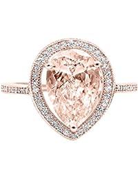 halo teardrop pear simulated morganite cubic zirconia bridal ring 925 sterling silver choose color - Teardrop Wedding Rings