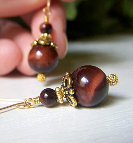 Red Tiger's Eye Earrings - Goldfilled Drop - Round Shape - AAA Quality Gemstone Earrings