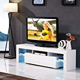 Mecor White TV Stand with LED Lights, 63 Inch TV Console Cabinet with Storage 2 Drawers for Living Room Modern Furniture,White