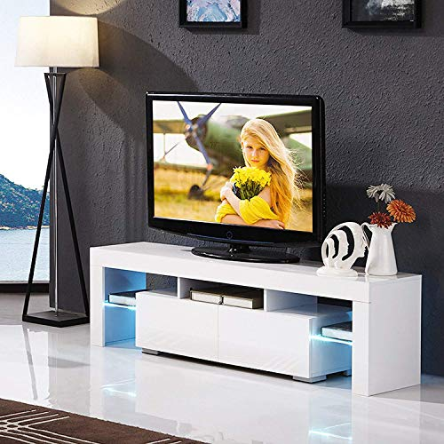 Mecor White TV Stand with LED Lights, 63 Inch TV Console Cabinet with Storage 2 Drawers for Living Room Modern Furniture (White) (High Gloss Modern)