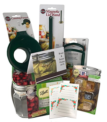 Canning Essentials Bundle Includes Jars 16 oz, Bread and Butter Pickle Canning Kit with Spices and Tools