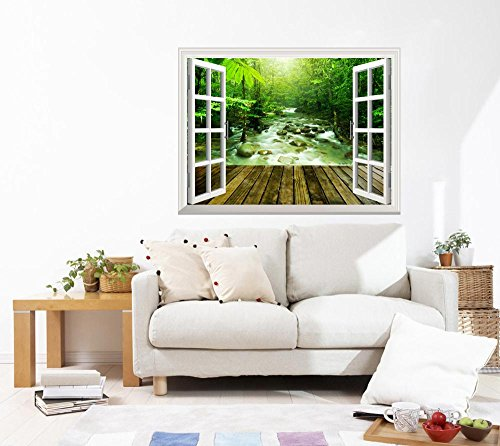 Removable Wall Sticker Wall Mural Wooden Platform and Tropical Mountain Stream with Sunbeam in a Morning Creative Window View Wall Decor