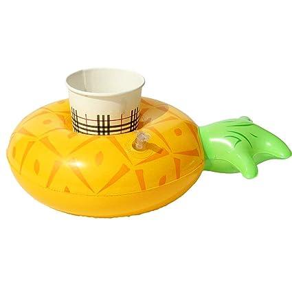 Rocita Portavasos Hinchable Flotadores de Bebidas para Piscina y diversión acuática (lemón)