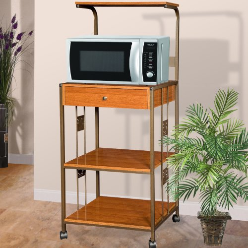 Home Source Industries R0018 Cherry Microwave Cart with 2 Electrical Outlets/Drawer and 2 Shelves, Cherry Finish